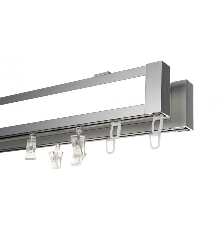 Karnisz Apartamentowy 52 mm sufitowy dwubiegowy chrom mat/biały
