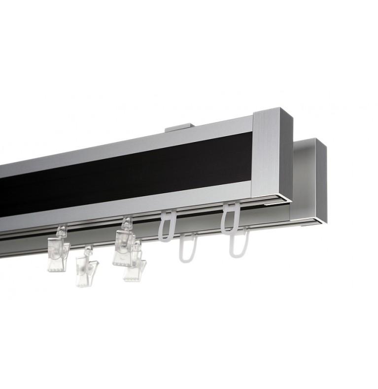 Karnisz Apartamentowy 52 mm sufitowy dwubiegowy chrom mat/czarny