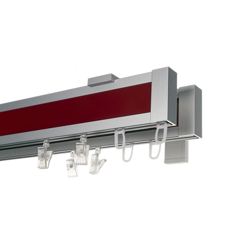 Karnisz Apartamentowy 52 mm dwubiegowy chrom mat/czerwony