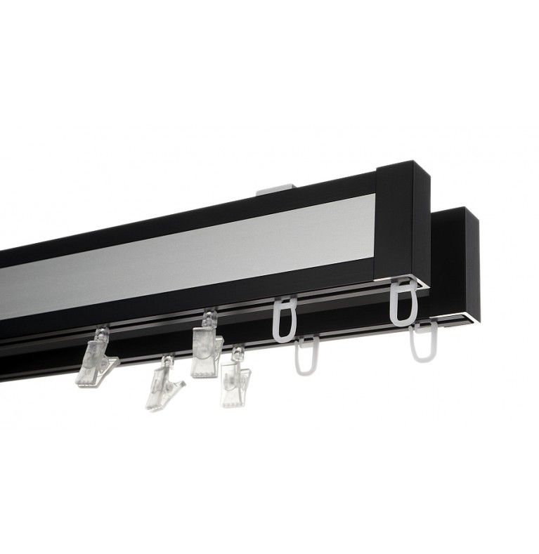 Karnisz Apartamentowy 52 mm sufitowy dwubiegowy czarny/chrom mat