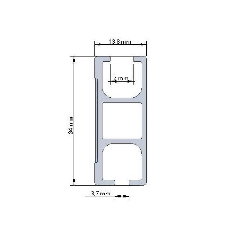 Karnisz Apartamentowy 34 mm sufitowy dwubiegowy Wenge