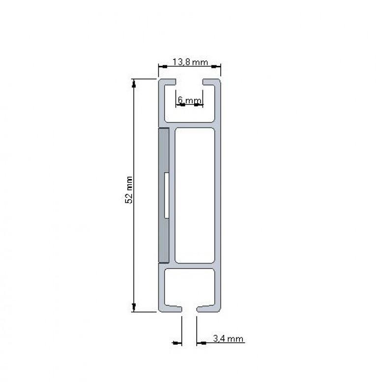 Karnisz Apartamentowy 52 mm sufitowy pojedynczy chrom mat/czarny