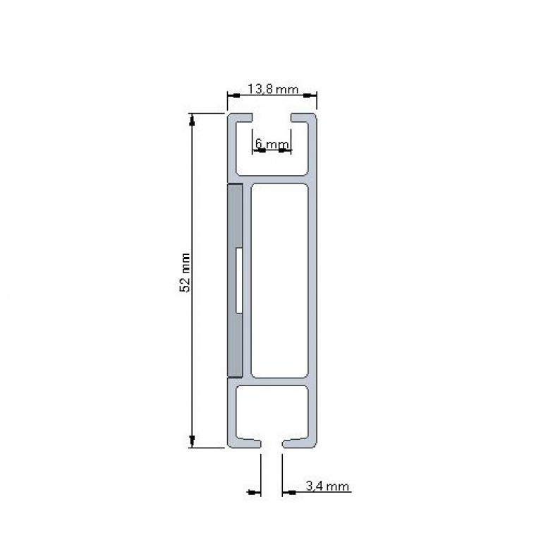Karnisz Apartamentowy 52 mm sufitowy pojedynczy chrom mat/biały