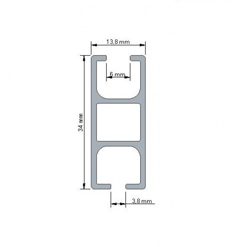 Karnisz Apartamentowy 34 mm sufitowy dwubiegowy Inox